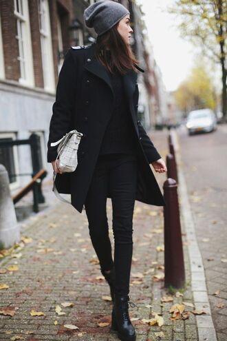 coat grey beanie black button coat black jeans combat boots blogger