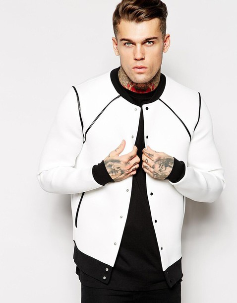Jacket: asos, neoprene, lines, bomber jacket, white, mens jacket ...