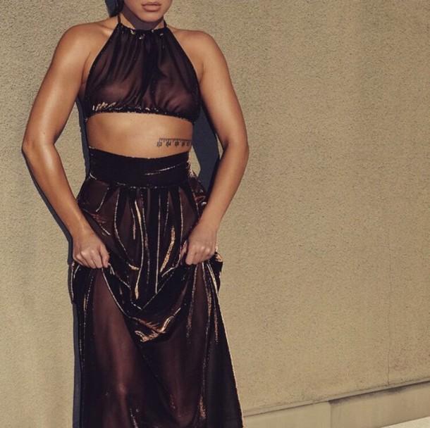 dress cute urban boho see through dress 2piece dress