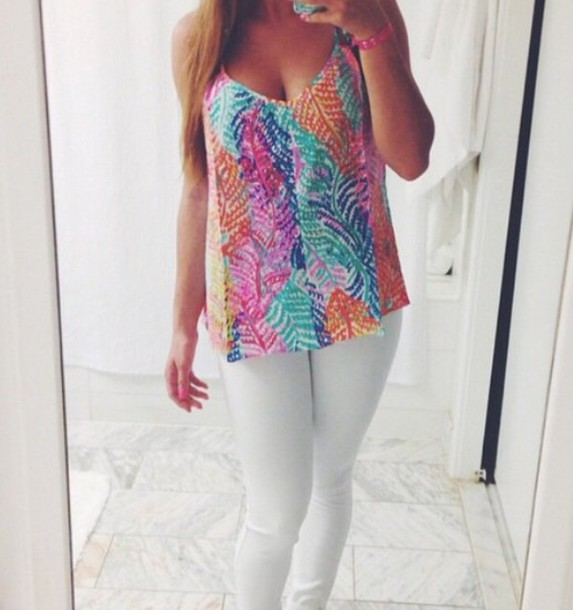 shirt colorful preppy printed top leaves tank top
