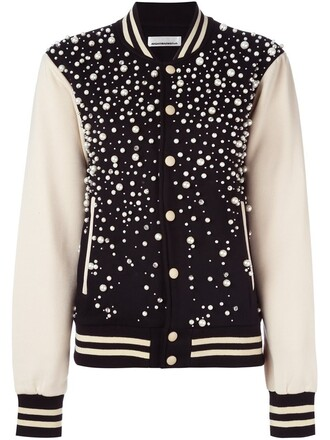 jacket bomber jacket women varsity cotton black