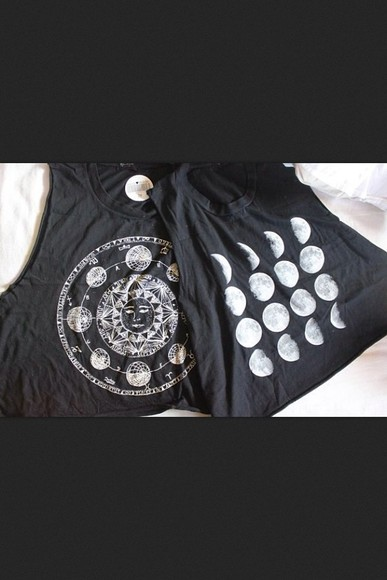 sun moon shirt black and white fullmoon halfmoon