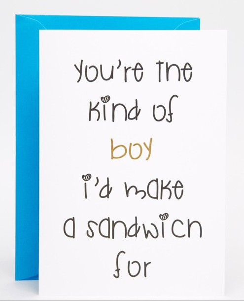 Home Accessory Boy Love Stationary Card Quote On It