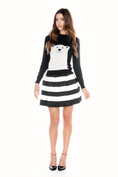 sweater,clothes,bear,polar bear,cute,skirt,stripes,black and white,spotted moth,heels,shoes