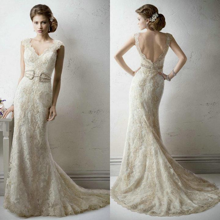 Discount Unique Cap Sleeves V Neckline Beaded Appliques Mermaid Lace Backless Floor Length Bridal Gowns Marriage Wedding Gowns 2015 Online with $192.68/Piece | DHgate