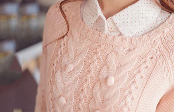 top polo shirt white polo polka dot polo polka dot pattern polka dot shirt white pink polka dots pink polka dots sweater cute girl kfashion korean fashion fashion pink sweater polo shirt korean fashion pastel pink blouse