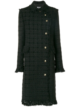 coat women classic cotton black wool