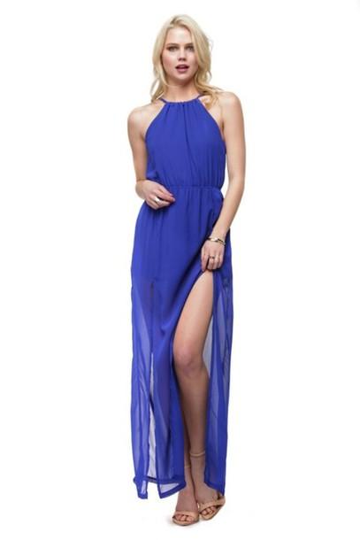 14688c3d4ba0 dress maxi dress open back maxi dress open back halter neck halter maxi  dress blue maxi