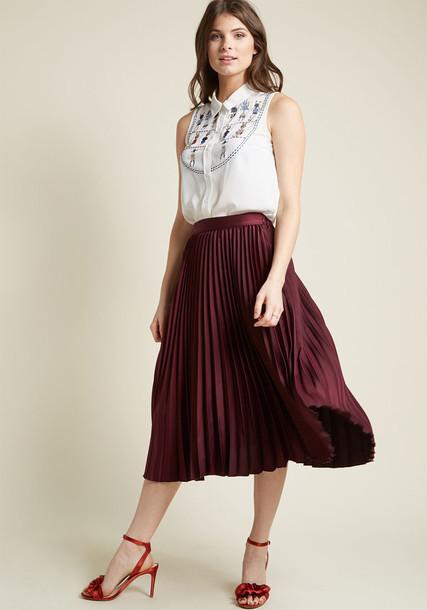 Modcloth skirt midi skirt pleated midi burgundy