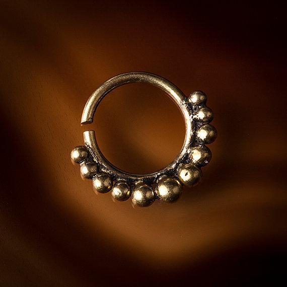 Brass septum for pierced nose 1.2mm brass wire 16g by TRIBALIK