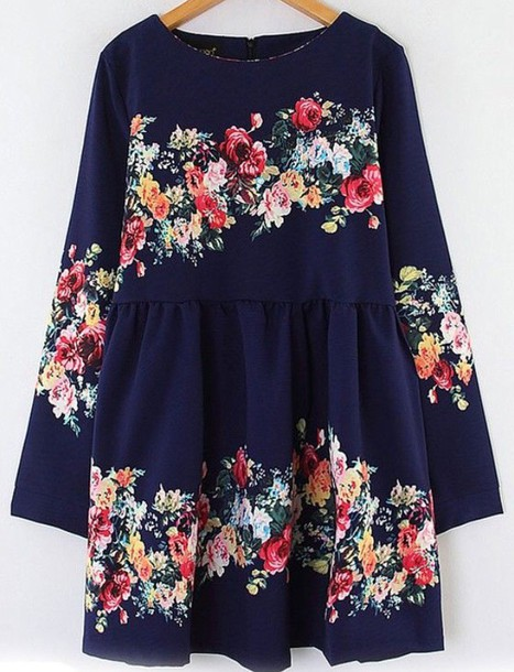 dress navy or black roses floral dress