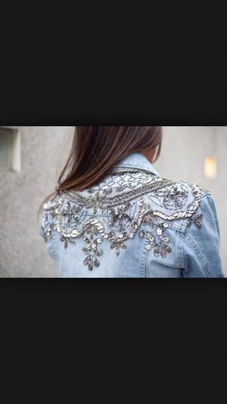 jeans blue shirt silver shiny cute shirt
