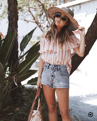 top hat tumblr stripes striped top off the shoulder off the shoulder top denim denim shorts sun hat shorts