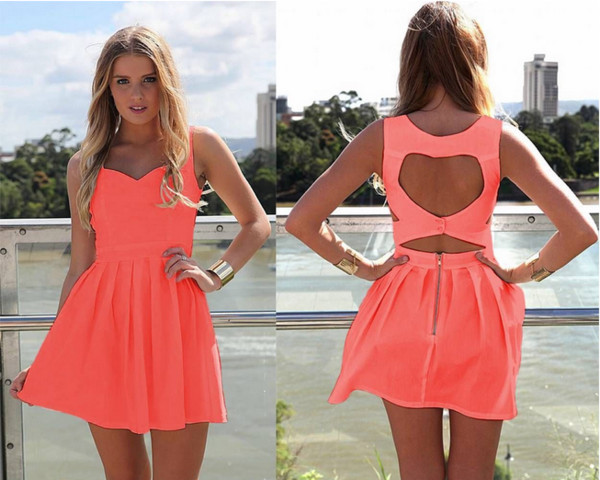 dress cute dress coral neon heart skater skate dress open back short flare out casual neon coral dress open back