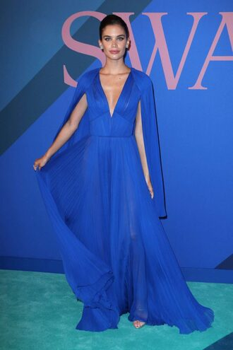 dress blue blue dress maxi dress plunge dress sara sampaio pleated gown prom dress cfda