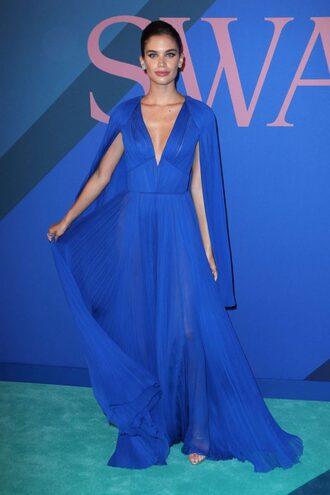 dress blue blue dress maxi dress plunge dress sara sampaio pleated gown prom dress cfda