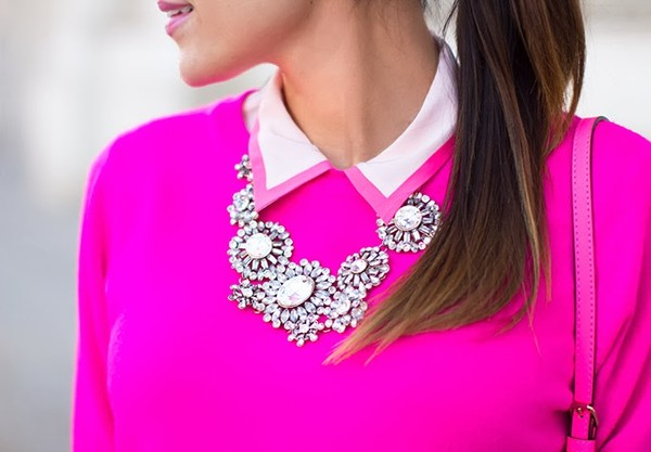 hello fashion sweater blouse pants shoes sunglasses jewels bag neon pink fushia fuschia statement necklace