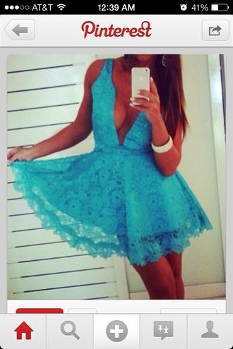 dress lace dress babyblue deep v neck dress sundress