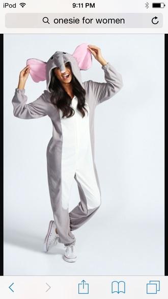 pajamas elephant onsies grey onesie
