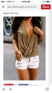 shirt,shorts,blouse,top,summer,sexy,gold,white,gold body chain,summer outfits,zip,plunge v neck,t-shirt,green blouse,cut-out,the same color,olive green