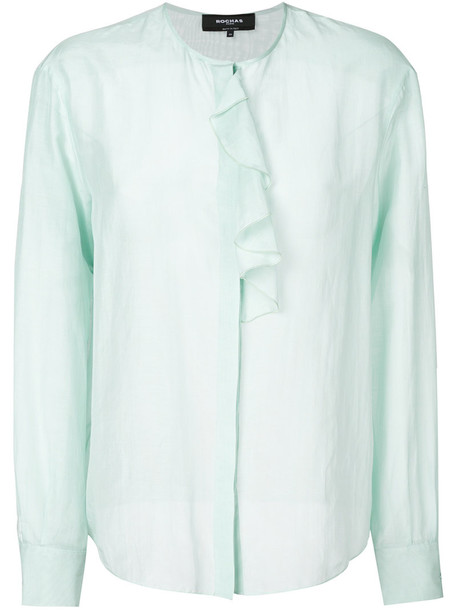 Rochas blouse ruffle women cotton blue silk top