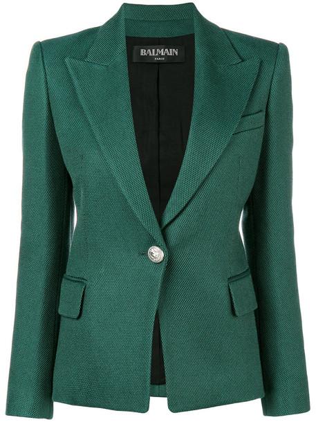 Balmain blazer women cotton wool green jacket