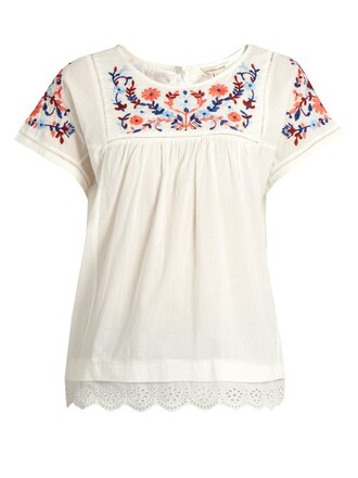 top embroidered floral cotton white