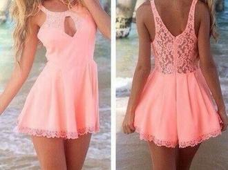dress lace dress pink dress short dress summer dress