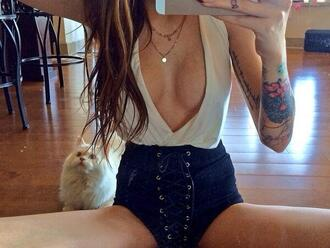 tank top white shirt white blouse white tank top white black shorts high waisted shorts shorts black tattoo brunette cats necklace lace laces lace up sabrina nellie