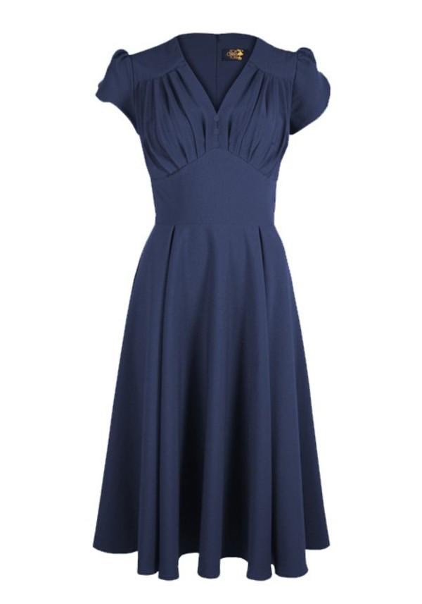 40s vintage long drss blue drss rockabilly housewife vintage style party dress evening dress retro
