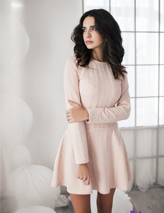 dress zefinka pastel knitwear rose mini dress urban fall outfits winter outfits fall dress cozy pretty cable knit tumblr tumblr outfit autumn/winter sweater dress winter dress warm