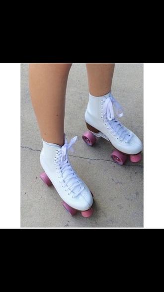shoes rollskates skates white roller skates pink wheels white roller skates pink wheels roller skates