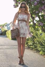 dress,flowers,waist belt,white,floral dress