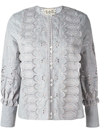 blouse women cotton grey top