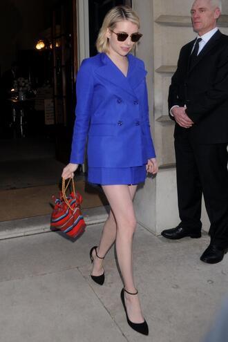 bag london fashion week 2018 fashion week streetstyle skirt blazer pumps blue