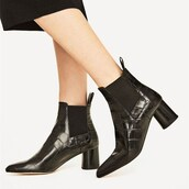 shoes,black,ankle boots,chunky heel,women shoes,cool,comfortable shoes