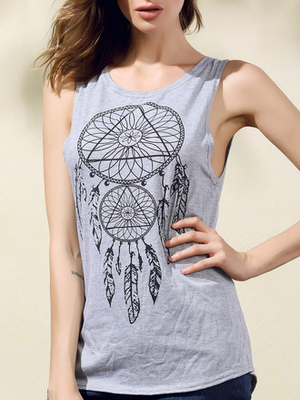 top crop tops festival dreamcatcher cool trendy grey dressfo