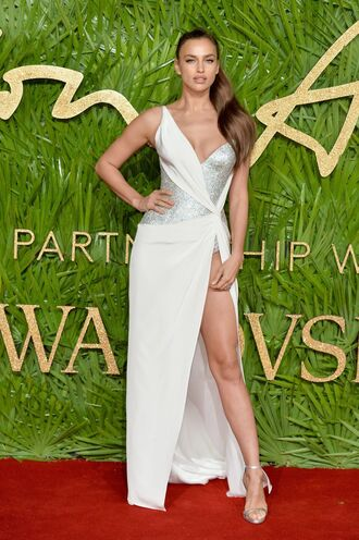 dress gown irina shayk slit dress sandals asymmetrical asymmetrical dress glitter silver model off-duty red carpet dress wedding dress