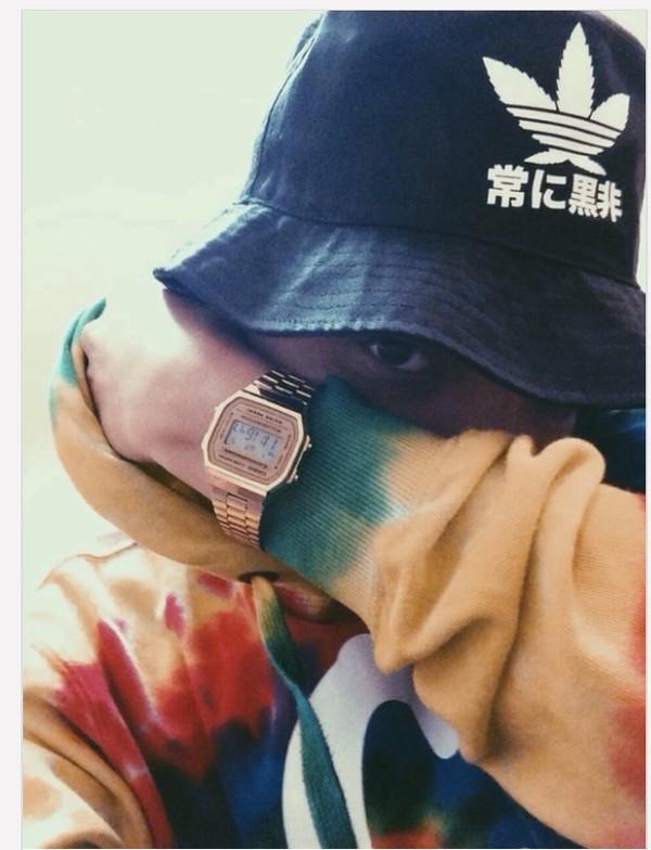 tye dye hoodie bucket hat casio watch hat