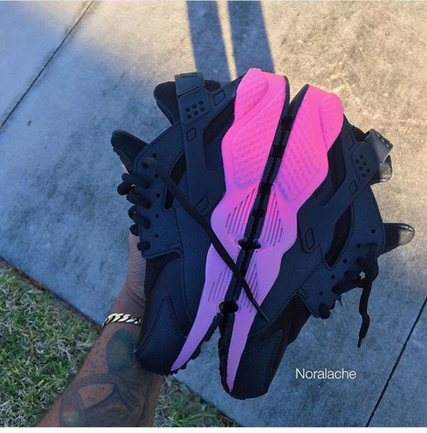 new style f4315 1da90 shoes black pink ombre nike air huaraches huarache nike nike shoes huarache  sneakers nike sneakers black