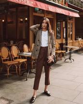 jacket,coat,checkered,cropped pants,pants,high waisted pants,white t-shirt,shoes,shoulder bag,earrings