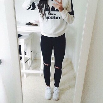 sweater white adidas sweatshirt stripes logo adidas originals