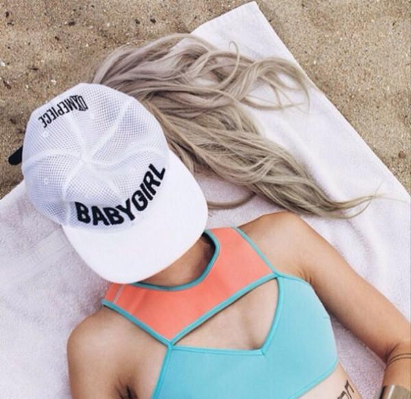 swimwear swimwear top bikini two-piece coral pink blue hat baby girl quote on it white snapback cap