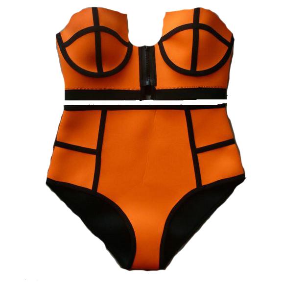 Orange neoprene swimsuit