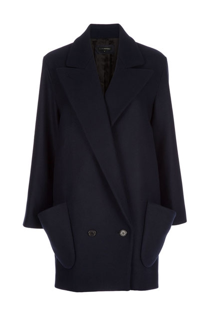 Slim Fit Double Breasted Navy Coat - OASAP.com