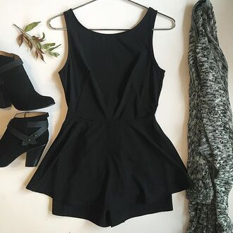 romper divergence clothing black romper caridgan grey cardigan oversized grey cardigan knit cute romper peplum romper ankle boots black ankle boots little black dress cute dress playusit black playsuit winter outfits