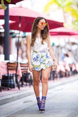 shoes rope heels skirt sunglasses top blue flowers floral floral floral skirt blue heels aviator sunglasses
