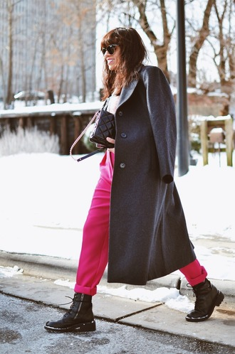 mysmallwardrobe blogger pants jacket shirt shoes sunglasses bag grey coat winter outfits pink pants boots
