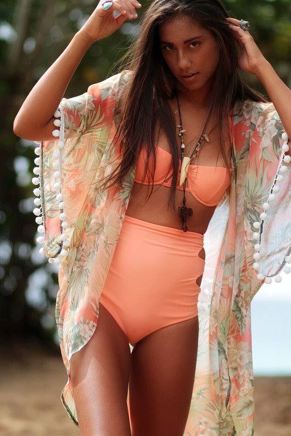 swimwear matt bruening robe beach beach loose beautiful lounge wrap wrap dress kimono kimono kimono peach lingerie tropical tropical pom poms beach lounge wear cover up cover up cover up swim cover up swim gear jacket