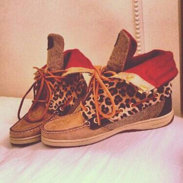 shoes sperry boat shoes leopard print high top sneakers